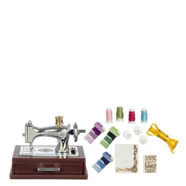 dollhouse miniature sewing machine with accessories