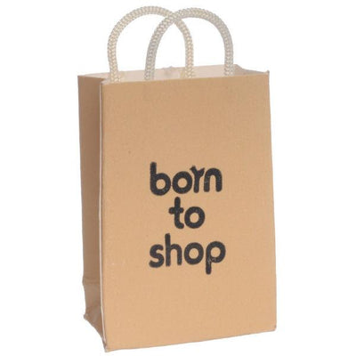"""Born to Shop"" Dollhouse Miniature Shopping Bag - Little Shop of Miniatures"