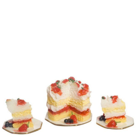 Dollhouse Miniature Strawberry Cake with Two Plates - Little Shop of Miniatures