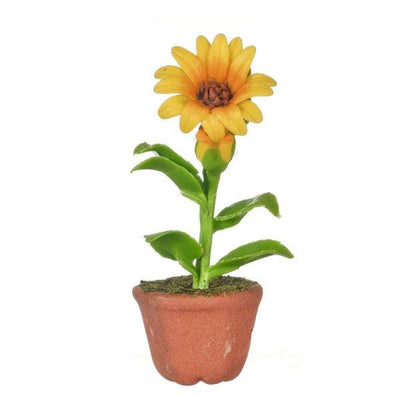 Dollhouse Miniature Sunflower in a Pot - Little Shop of Miniatures
