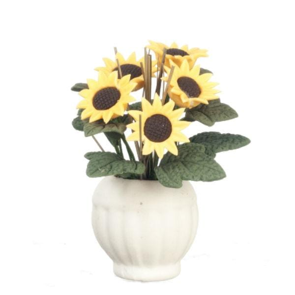 dollhouse miniature sunflowers in a white vase