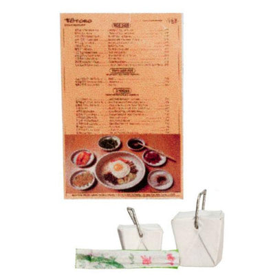 dollhouse miniature takeout menu and boxes