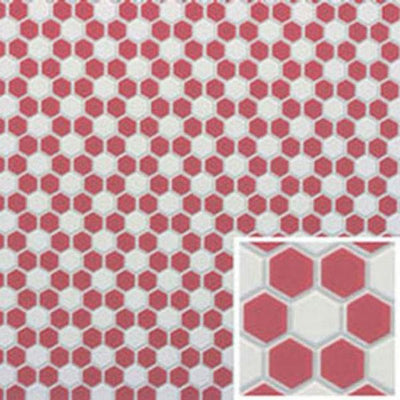 Red & White Hexagon Dollhouse Tile Sheet - Little Shop of Miniatures