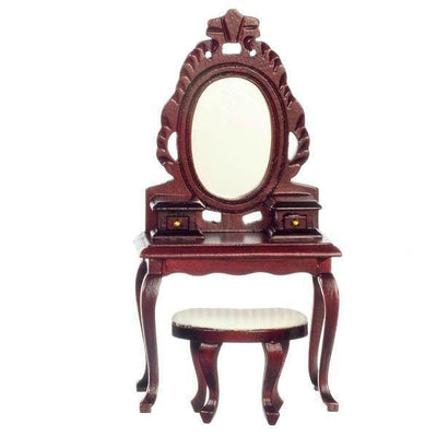 Mahogany Dollhouse Miniature Vanity with Stool & Mirror - Little Shop of Miniatures