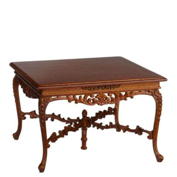 dollhouse miniature walnut table
