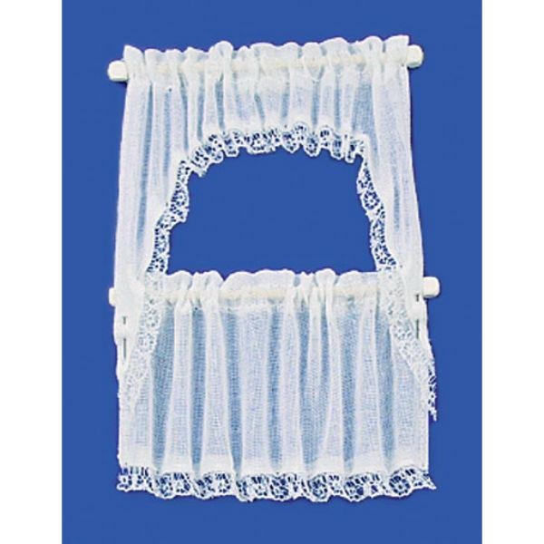 White dollhouse miniature demi cape curtains.