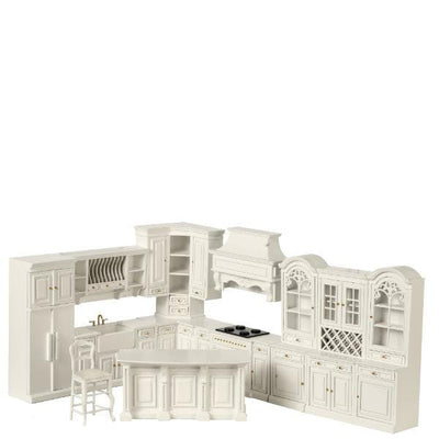 dollhouse miniature white kitchen set