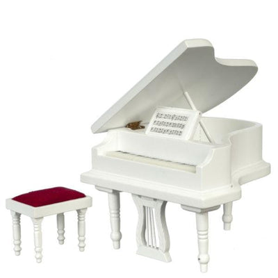 dollhouse miniature white piano with bench