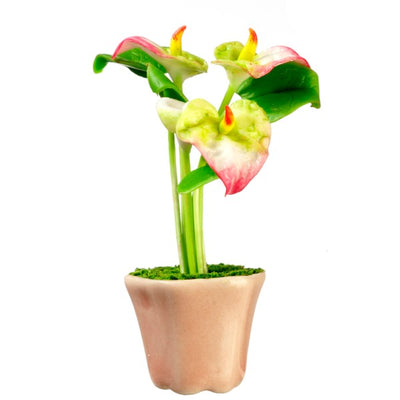 Dollhouse Miniature Potted Anthurium - Little Shop of Miniatures