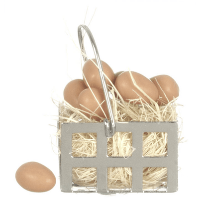 Dollhouse Miniature Basket of Brown Eggs - Little Shop of Miniatures