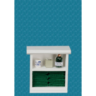 Dollhouse Miniature Dark Green Accented Small Bath Cabinet - Little Shop of Miniatures