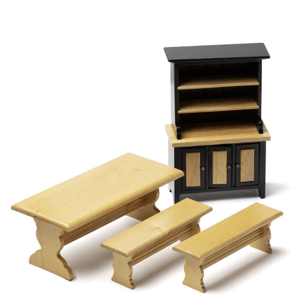 dollhouse miniature bench and hutch