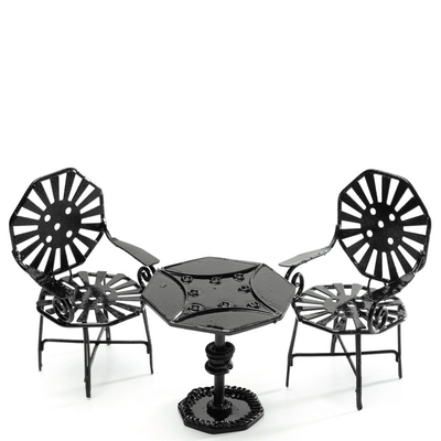 Black Dollhouse Miniature Bistro Set - Little Shop of Miniatures