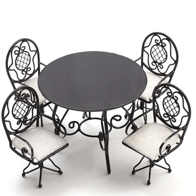 Black Metal Dollhouse Miniature Patio Set - Little Shop of Miniatures