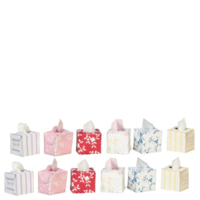 12 Dollhouse Miniature Boxes of Tissues - Little Shop of Miniatures