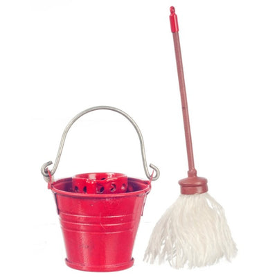 Dollhouse Miniature Floor Mop with Red Ringer Bucket - Little Shop of Miniatures