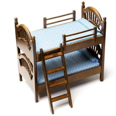 Walnut Dollhouse Miniature Bunk Bed - Little Shop of Miniatures