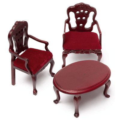 dollhouse miniature burgundy chairs and table