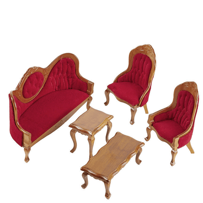 dollhouse miniature burgundy living room set