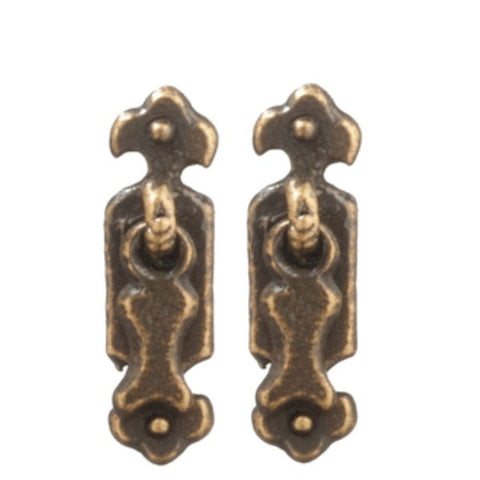 Antique Brass Dollhouse Miniature Cabinet Pulls - Little Shop of Miniatures