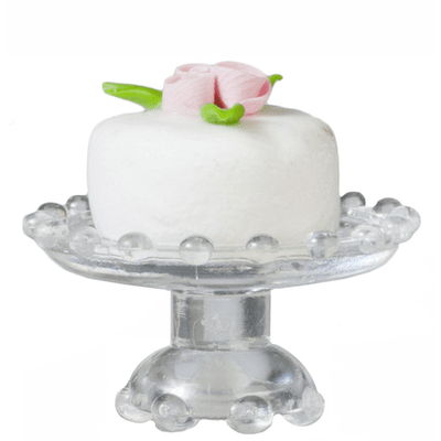 White Dollhouse Miniature Cake on a Stand - Little Shop of Miniatures