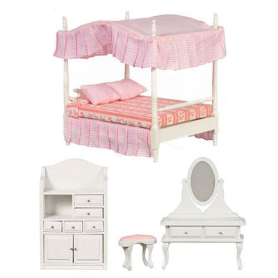 3-Piece Pink & White Canopy Bed Set - Little Shop of Miniatures
