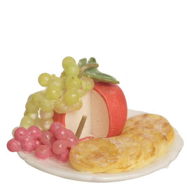 dollhouse miniature cheese and grape tray