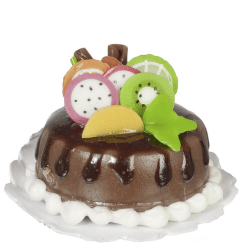 Dollhouse Miniature Chocolate Cake with Fruit - Little Shop of Miniatures