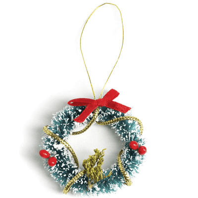 Frosted Dollhouse Miniature Wreath - Little Shop of Miniatures