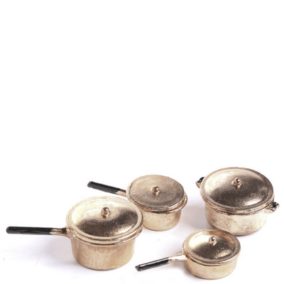 Copper Dollhouse Miniature Pots & Pans Set - Little Shop of Miniatures