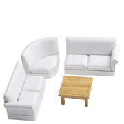 White Dollhouse Miniature Sofa Sectional with Coffee Table