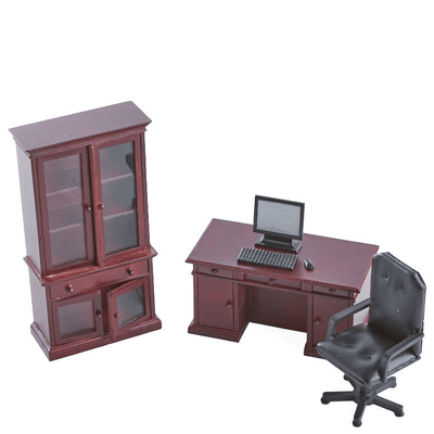 4-Piece Mahogany Dollhouse Miniature Desk Set - Little Shop of Miniatures