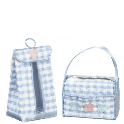 Blue Dollhouse Miniature Diaper Bag & Stacker Set - Little Shop of Miniatures