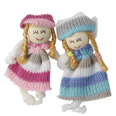 Dollhouse Miniature Dolls in Knit Dresses - Little Shop of Miniatures