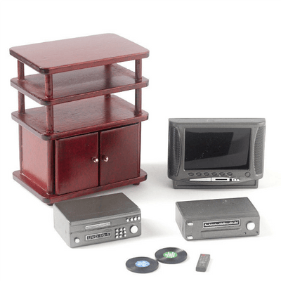 Mahogany Dollhouse Miniature Entertainment Center with Accessories - Little Shop of Miniatures