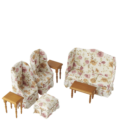 dollhouse miniature floral living room set