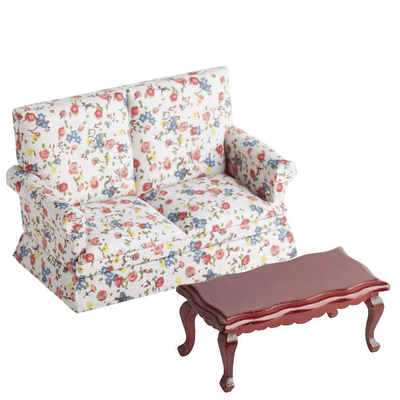 dollhouse miniature floral sofa and coffee table