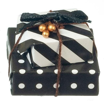 Dollhouse Miniature Black & White Wrapped Gifts