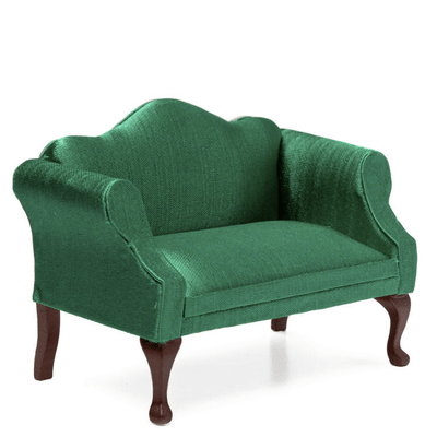Green Dollhouse Miniature Sofa - Little Shop of Miniatures