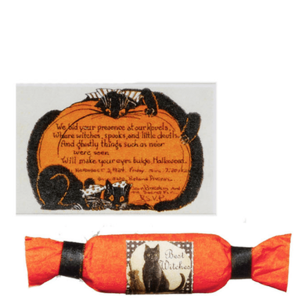 dollhouse miniature halloween invite