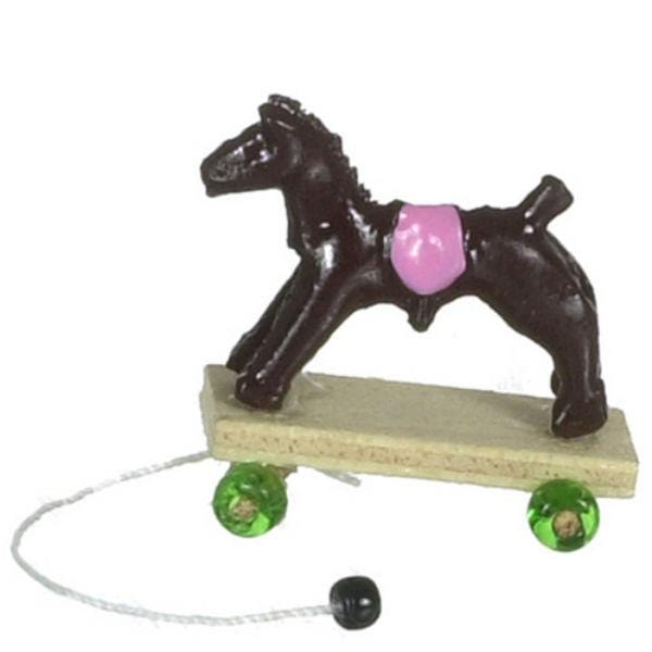 dollhouse miniature horse pull toy