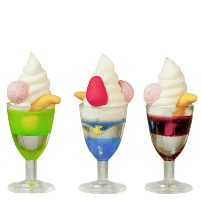 dollhouse miniature ice cream sundaes