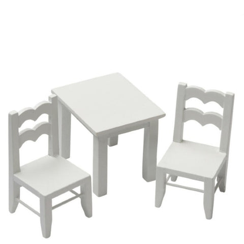 White Dollhouse Miniature Children's Table & Chairs - Little Shop of Miniatures