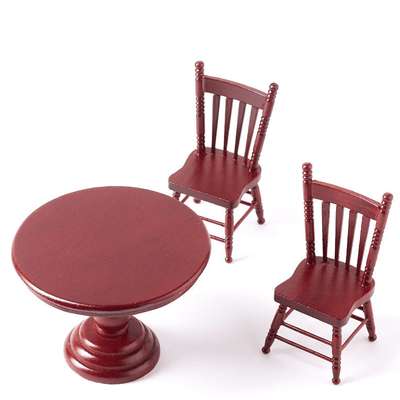dollhouse miniature kitchen table and two chairs