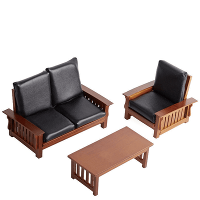 dollhouse miniature leather living room set