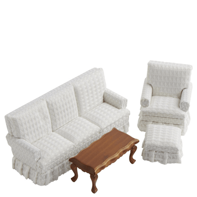 4-Piece White Dollhouse Miniature Living Room Set