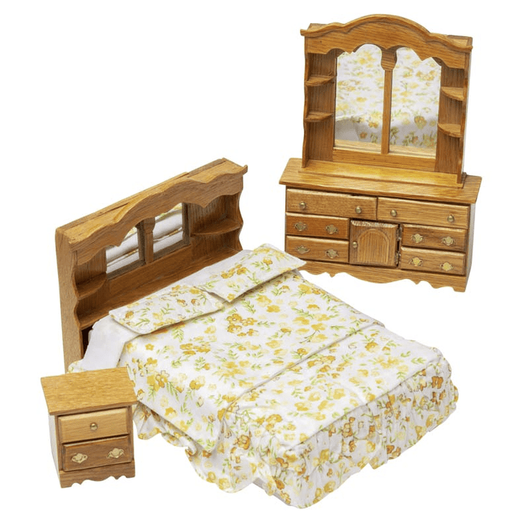 dollhouse miniature oak bedroom set