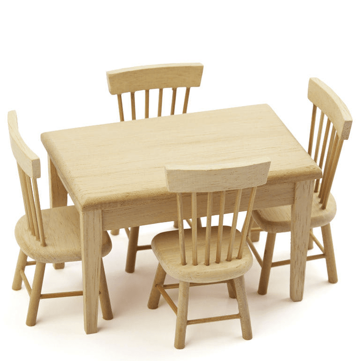 dollhouse miniature oak dining set
