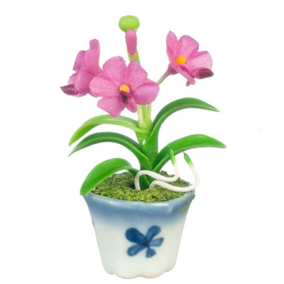 Fushia Dollhouse Miniature Vanda Orchid Plant in a Pot - Little Shop of Miniatures