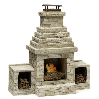 Large Stone Dollhouse Miniature Outdoor Fireplace - Little Shop of Miniatures